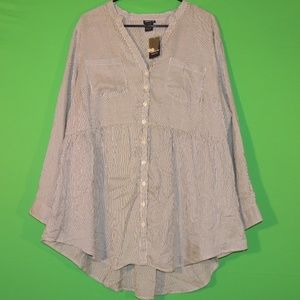 Torrid Womens 2 Long Slv Button Shirt NEW